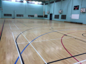 Sports Hall Floor Relacquered and Lines